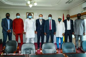 The delegation was received by the Minister (3rd Left) in his office